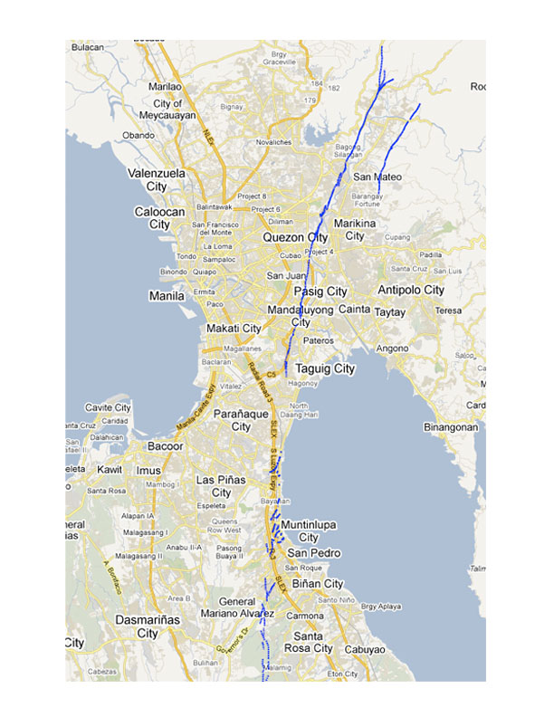 The West Marikina Valley Fault runs through this part of Metro Manila (in blue). Ecoslva1.WordPress.com (click to visit)